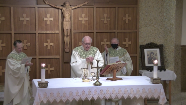 Bishop DiMarzio celebrates Mass with Fr. Sears and Fr. Holcomb